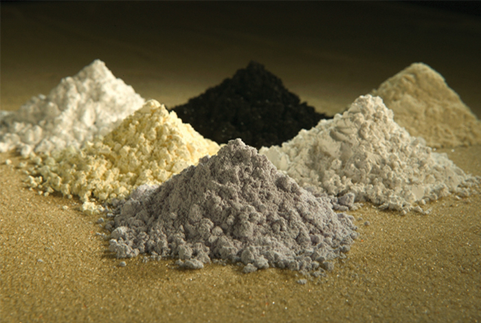 Small piles of rare earth elements