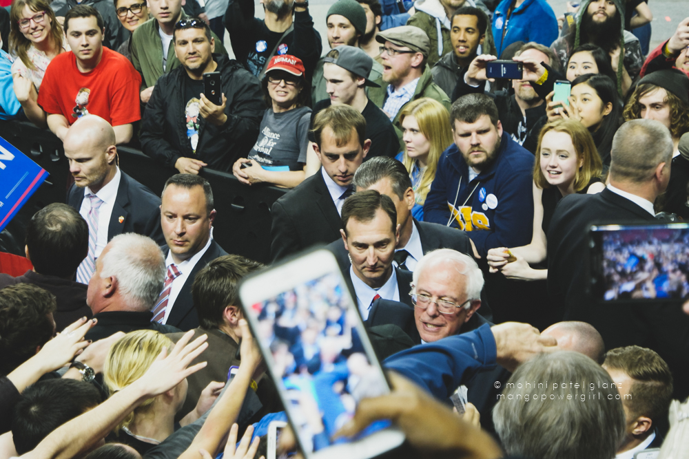 senator bernie sanders leaving the rally at the seattle rally at key arena, seattle center