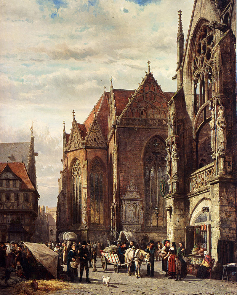 Many Figures On The Market Square In Front Of The Martinikirche, Braunschweig by Cornelis Springer