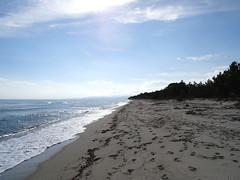 La plage de Pinia au bout de la piste carrossable : vers le Sud-Ouest