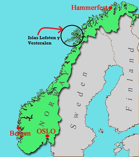 Mapa de las Islas Lofoten y Vesteralen en Noruega