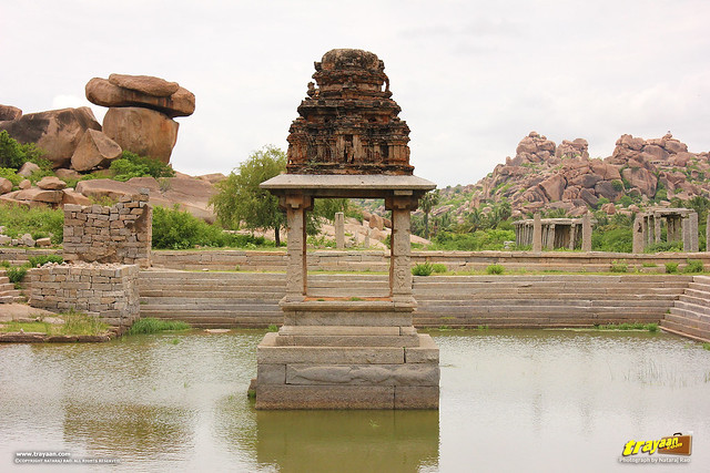 Krishna temple pond pushkarni, Hampi, Ballari district, Karnataka, India