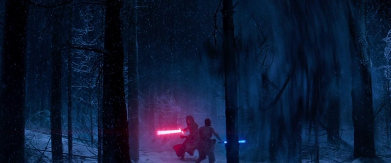 Lightsabers fight in the Forest of Dean