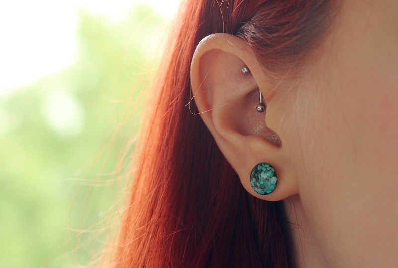 Turquoise Cameoko Button Earrings and a Rook Piercing