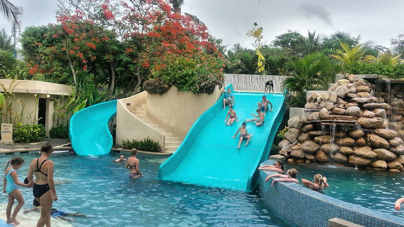 Indoor pool with waterslide  9 Bali beach resorts with amazing water slides and kid pools