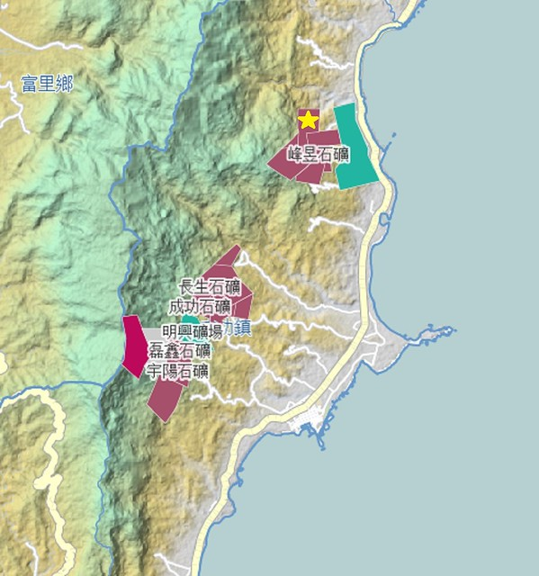 打星號的位置為成功鎮礦場位置。圖片來源:國土礦業GIS圖台。