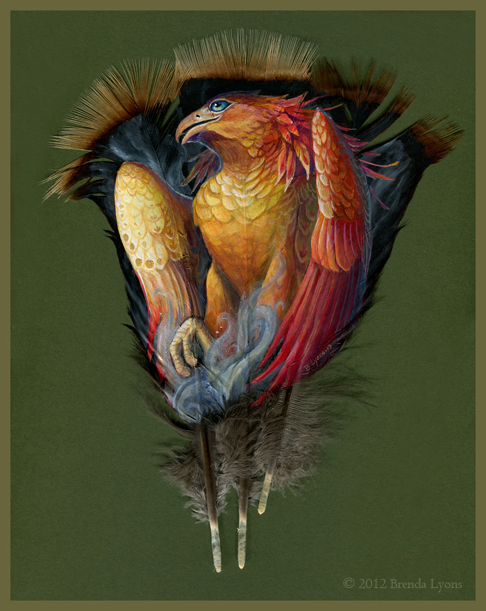 Magical fantasy painted feathers by Brenda Lyons