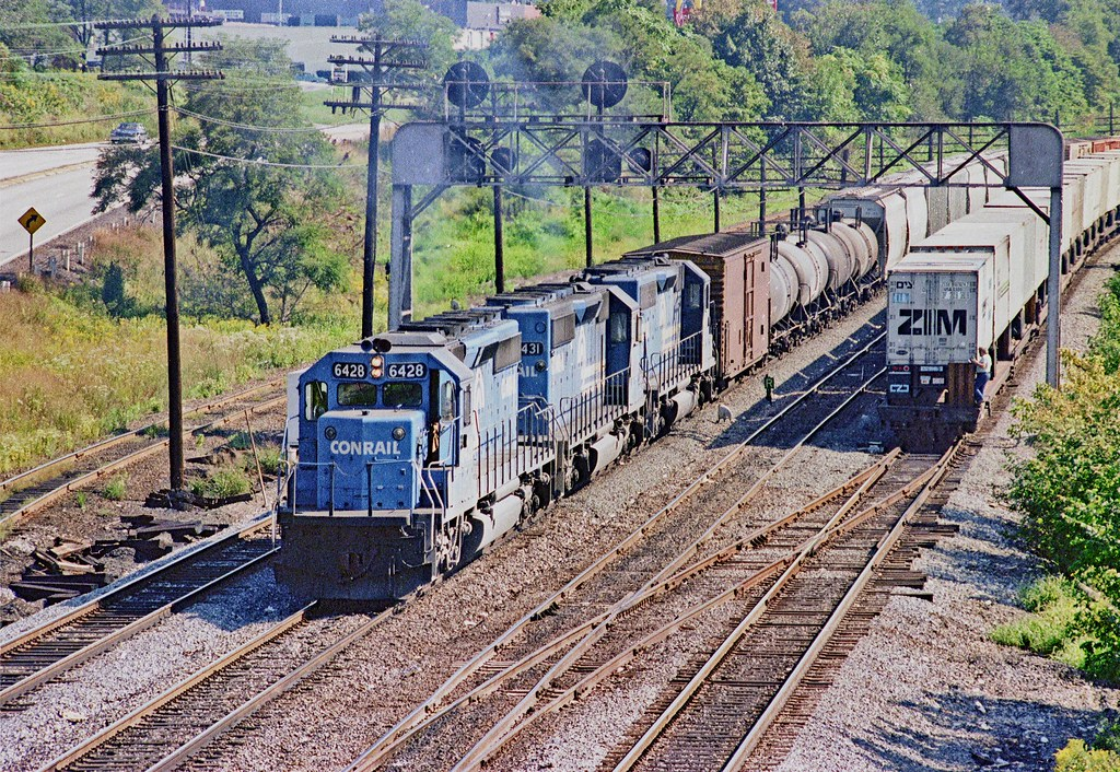 Conrail Sd40 2 6248 Leads Mixed Freight Westbound At East