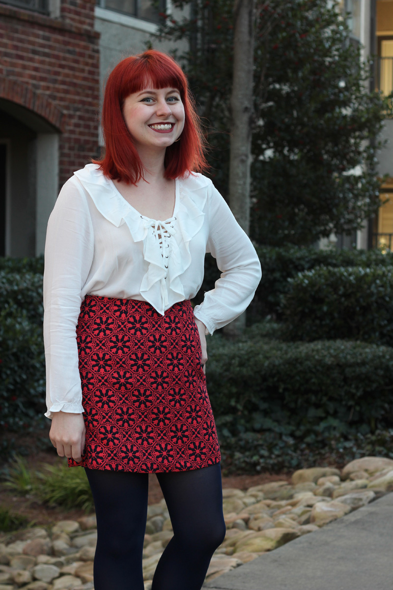 Red Geometric Floral Mini Skirt, White Long Sleeved Lace Up Top