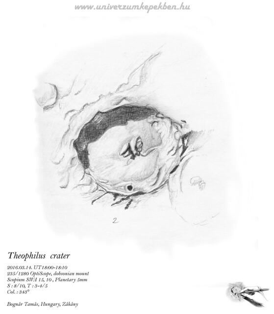 Theophilus crater - sketch - Bognár Tamás, Zákány