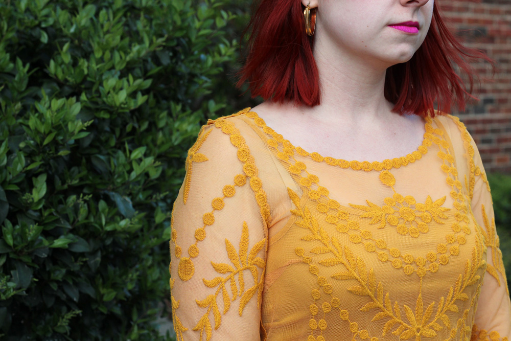 Embroidered Long Sleeved Yellow Dress Detailing