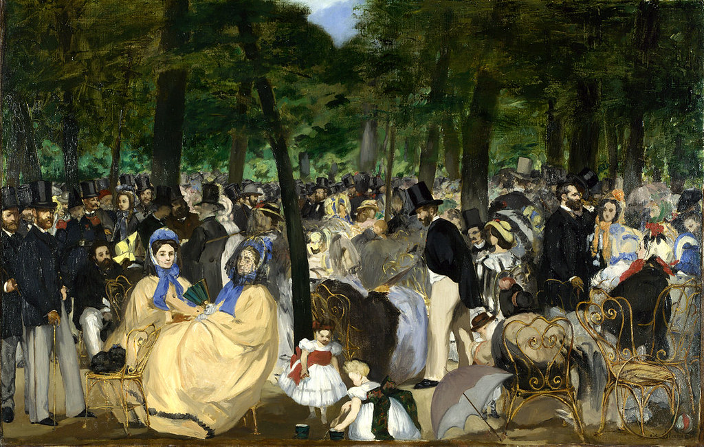 Music in the Tuileries Gardens, by Edouard Manet (1862). The parks of Paris, particularly the Tuileries gardens and the new Bois de Boulogne, provided entertainment and relaxation for all classes of Parisians during the Second Empire.