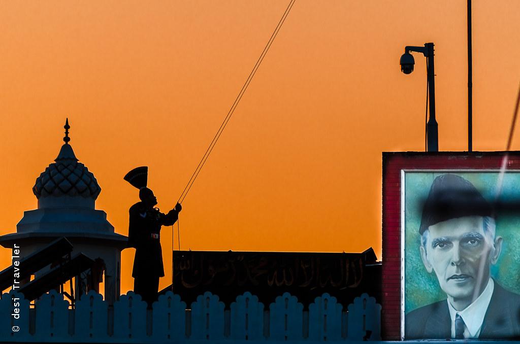 Pakistani ranger Jinnah portrait Wagah Border Parade