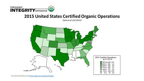 2015 United States Certified Organic Operations map