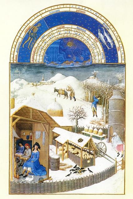 """Kommt nochmal Schnee in diesem Februar? Richtig eisig kalt war das Wetter heute in Mannheim. Und für morgen und übermorgen sind sogar für die Region (hoffentlich nur leichte) Schneefälle vorhergesagt. Ganz so heftig wie auf diesem Kalenderblatt für den Monat Februar wird es wohl nicht werden. Das Stundenbuch des Herzogs von Berry aus dem 15. Jahrhundert ist eine der berühmtesten illustrierten Handschriften. Ein Höhepunkt der spätmittelalterlichen Buchmalerei. Die Miniaturen stammen von den Brüdern Paul, Hermann und Jean von Limburg. Der Originaltitel des """"Stundenbuches"""": Les Très Riches Heures du Duc de Berry. Besonders die Kalenderblätter sagen viel über mittelalterliche Traditionen und Moden aus. Man erkennt ein Taubenhaus, Bienenvölker in Strohstülpern, im Pferch drängen sich Schafe wärmend aneinander. Ein Baum wird gefällt, wahrscheinlich, um noch mehr Holz zum Verheizen zu erhalten. Die Bauern wärmen sich in der Stube die Beine am Feuer, ebenso die elegante Dame im blauen Kleid ... Jedes einzelne Kalenderbild lädt zum Betrachten und Beobachten ein; wunderbar sind die Details ausgearbeitet ... Kleine Kunstwerke!"""