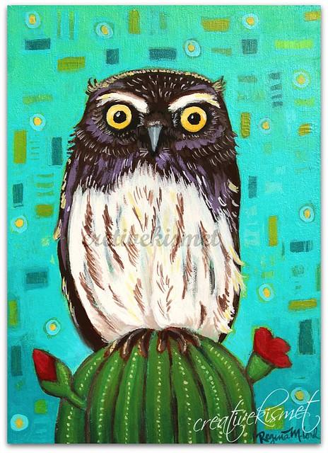 Elf Owl, Art by Regina Lord