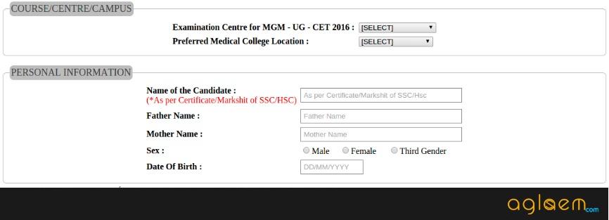 MGM CET Online Registration Form