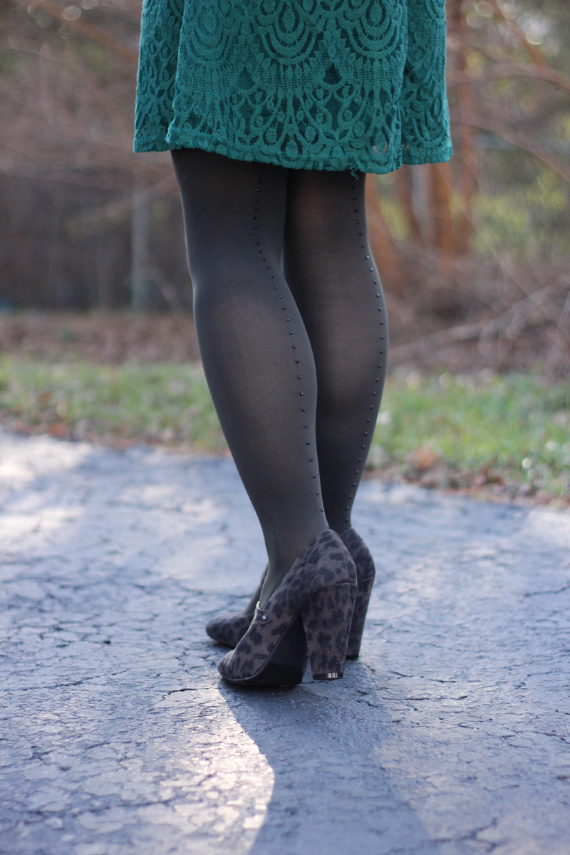 Green Lace Dress, Rhinestone Back Seam Tights, and Dark Gray Leopard Print Heels