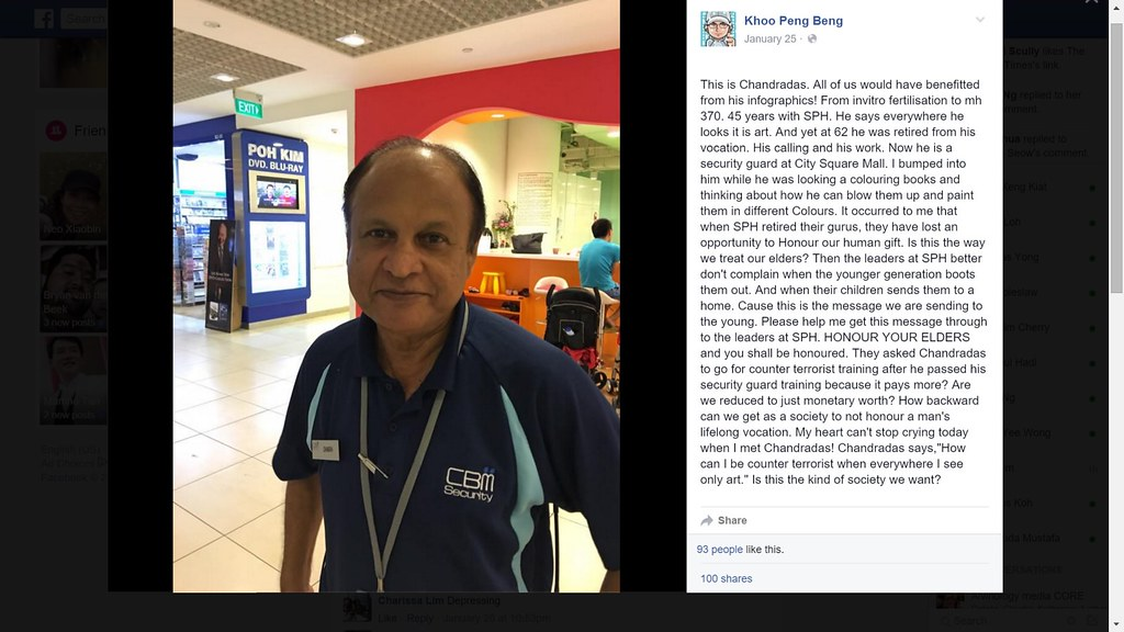 Mr Chandradas, 62, formerly an infographics illustrator with the Singapore Press Holdings, is now working as a security guard at a shopping centre.