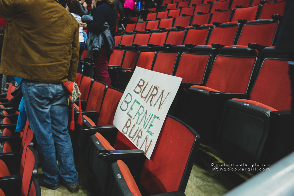 burn bernie burn sign at bernie sanders rally seattle