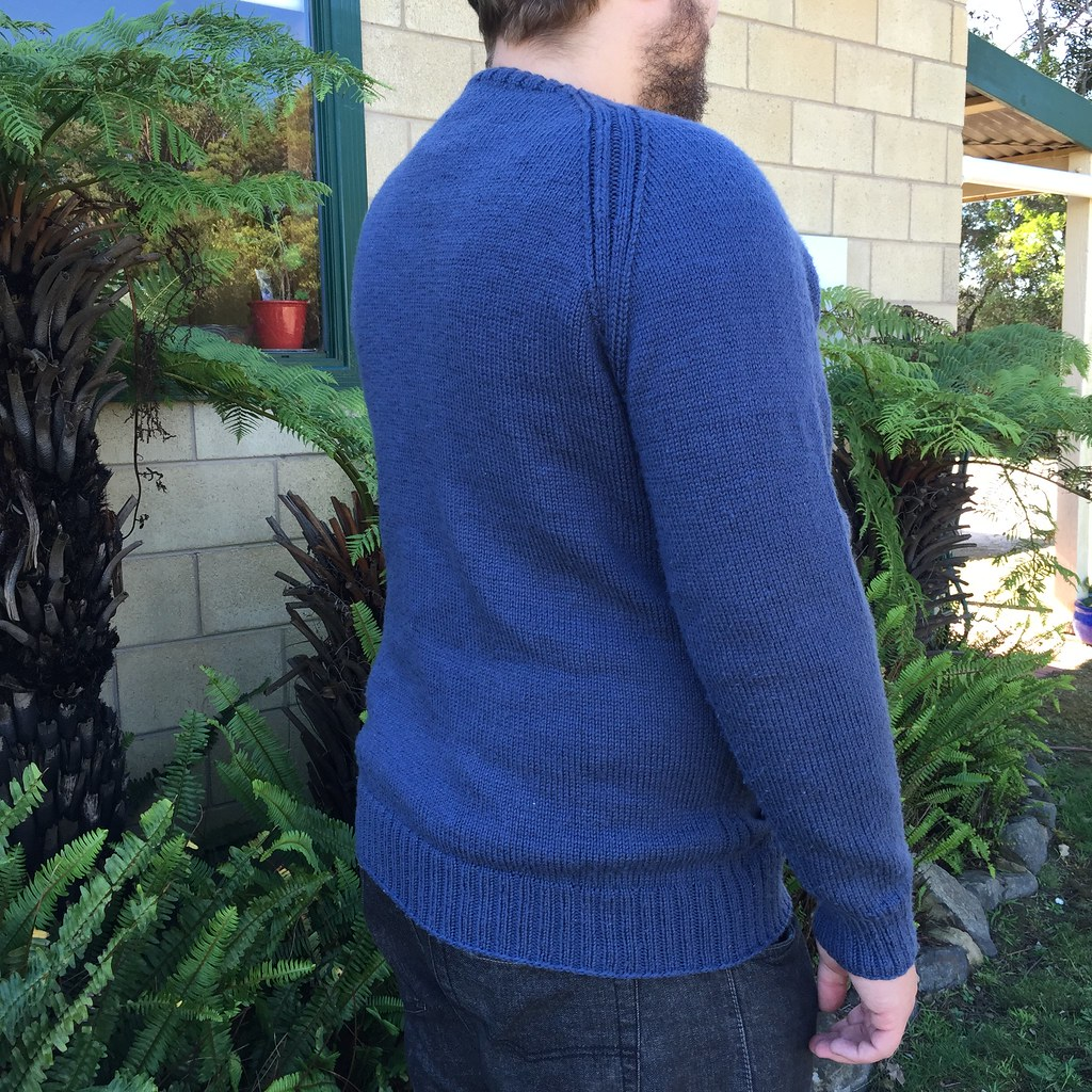 back view of bb's sweatshirt sweater in bendigo woollen mills luxury 10ply