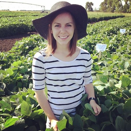 Autumn Busbee standing in between rows of soybean plants.