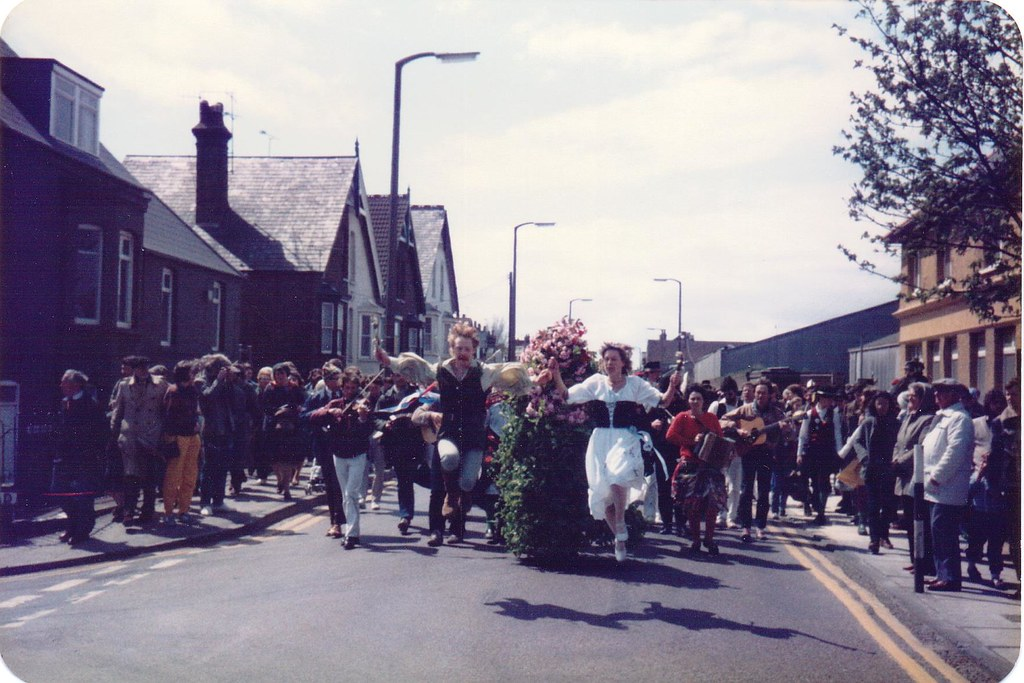 Whitstable May Day 1984 - Robin Hood and Maid Marian dance in front of the Jack-in-the-Green