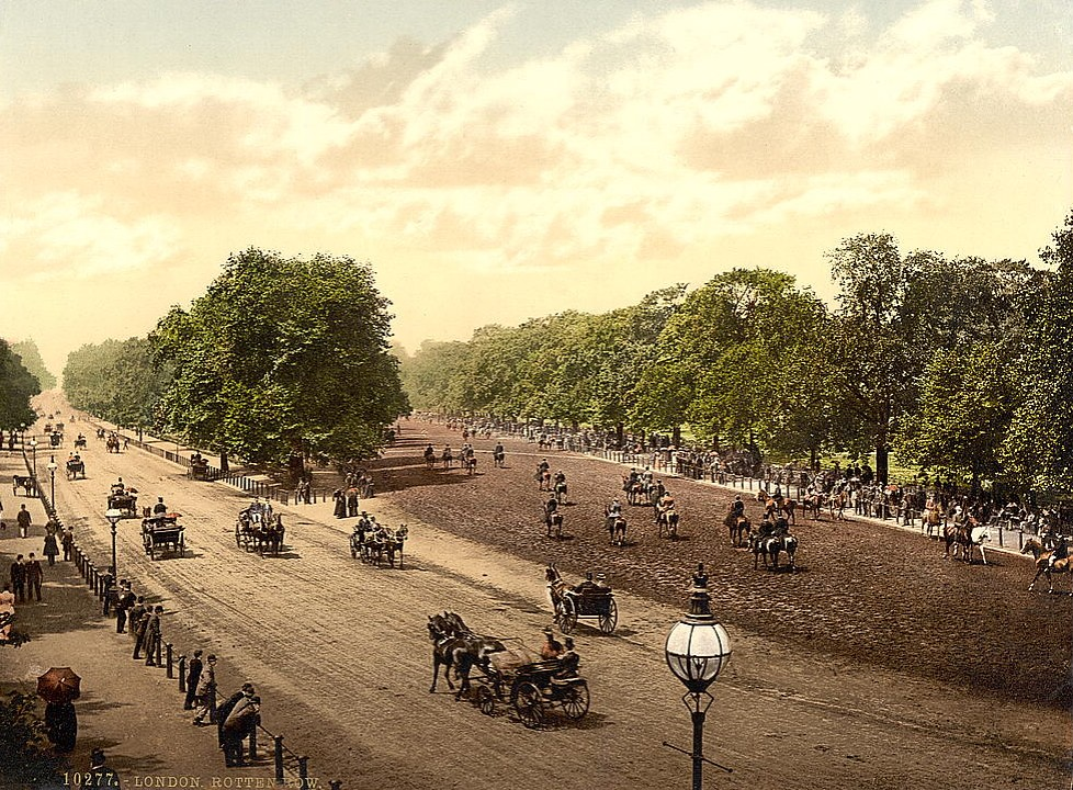 Rotten Row and Hyde Park Corner, London.