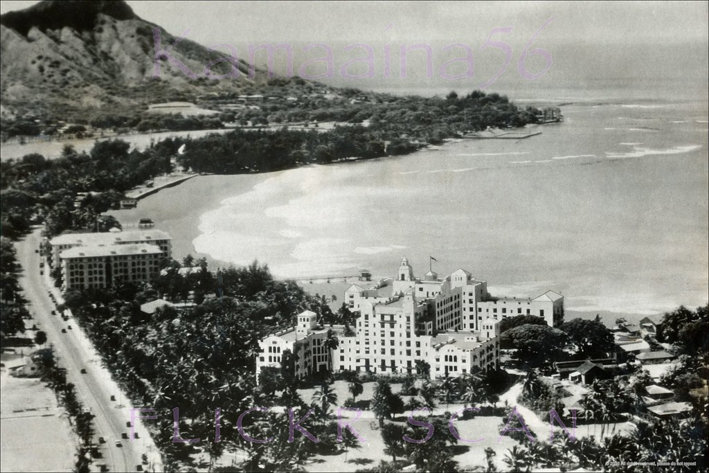 Old Waikiki Aerial View C1930 Airplane View By A Us Army
