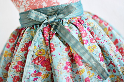 Blue Petite Floral Valentine Skirt for 18-21 inch dolls