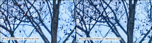 Image showing with and without Chromatic Aberration