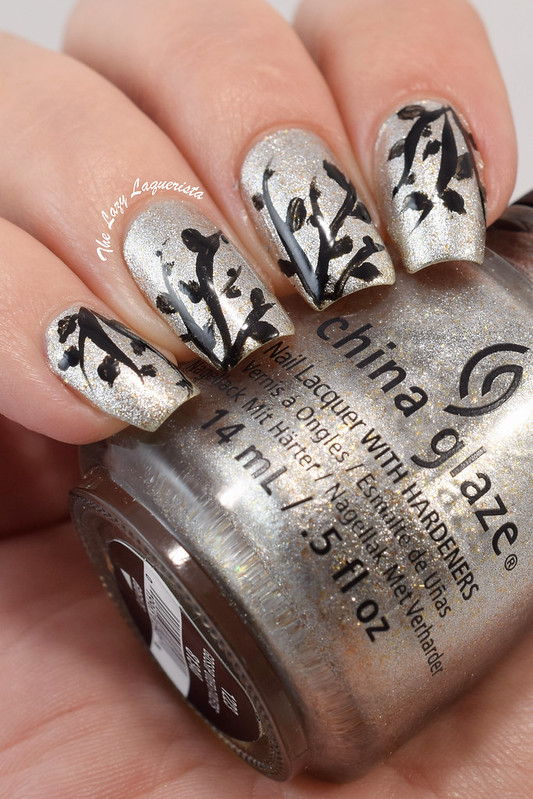 Leaf branch nail art