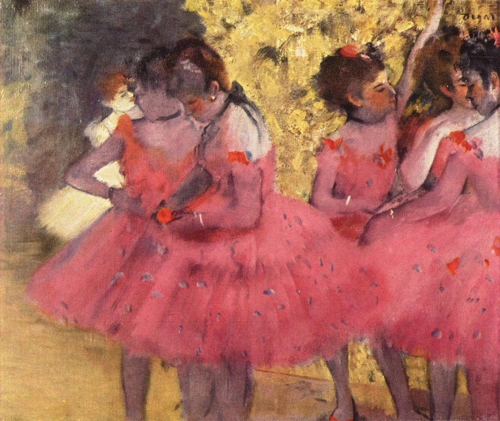 The Pink Dancers, Before the Ballet by Edgar Degas, 1884