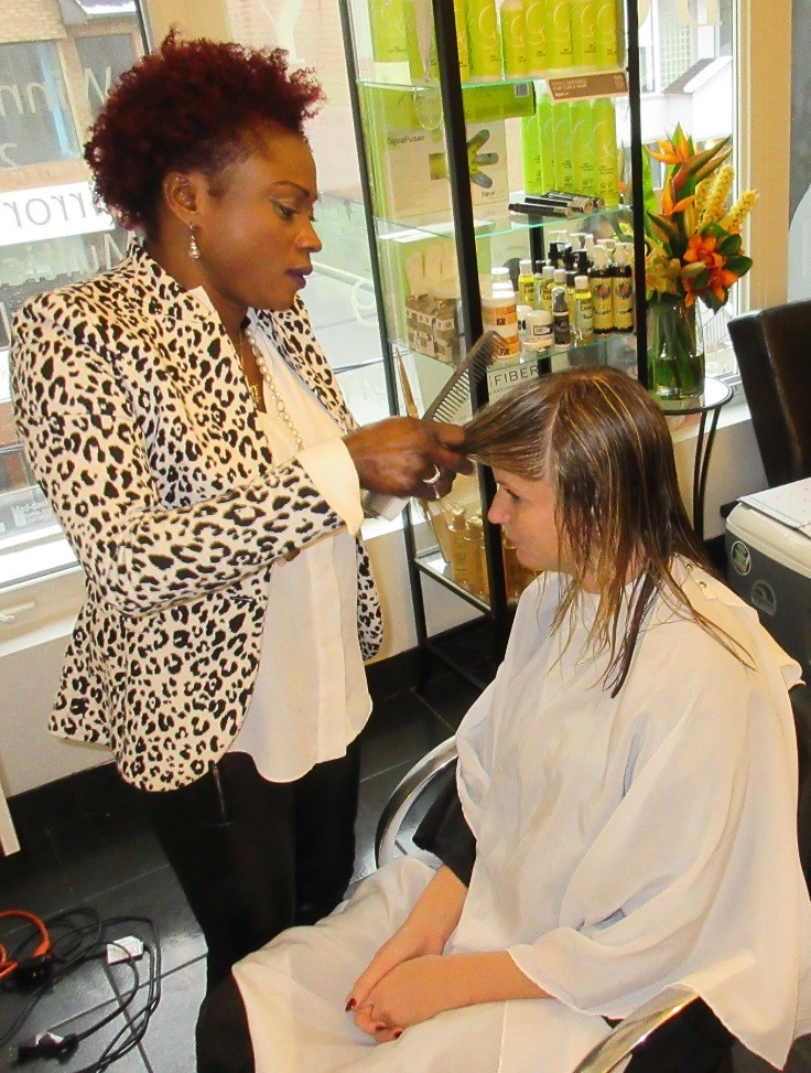 Donna Dolphy cuts Shannon Tebb's hair, Yorkville Salon