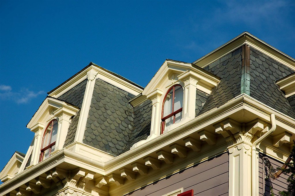 Roof detail of a Second Empire style house in Salem, Massachusetts