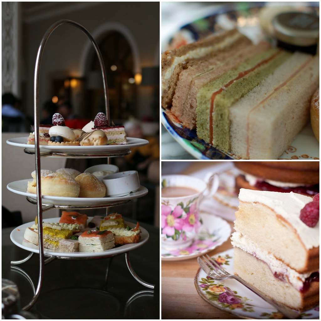 Left: Afternoon Tea, Fairmont Château, Lake Lousie. Credit Elsie Hui. Top right: Afternoon tea at the Sanderson Hotel. credit Su-Lin. Bottom right: Victoria Sponge slice. Credit Carwyn Lloyd Jones.