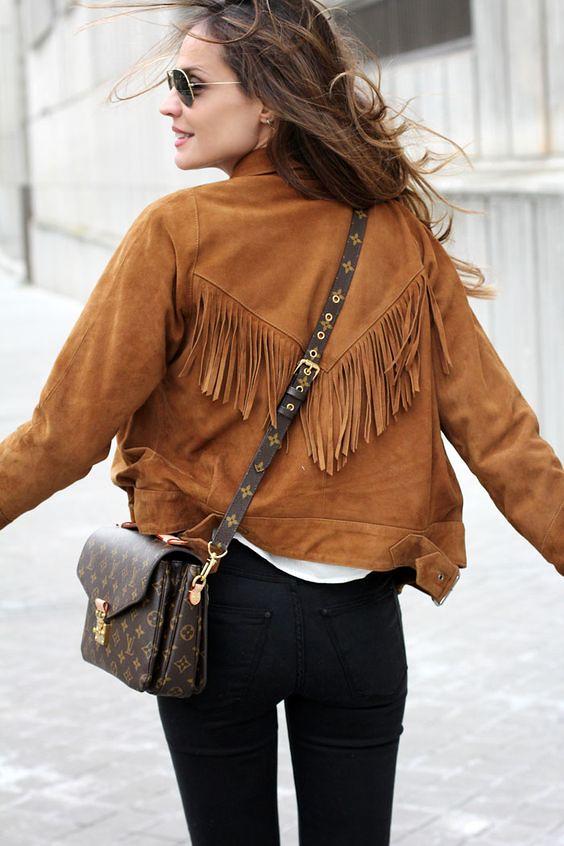 jaqueta franjas camurça