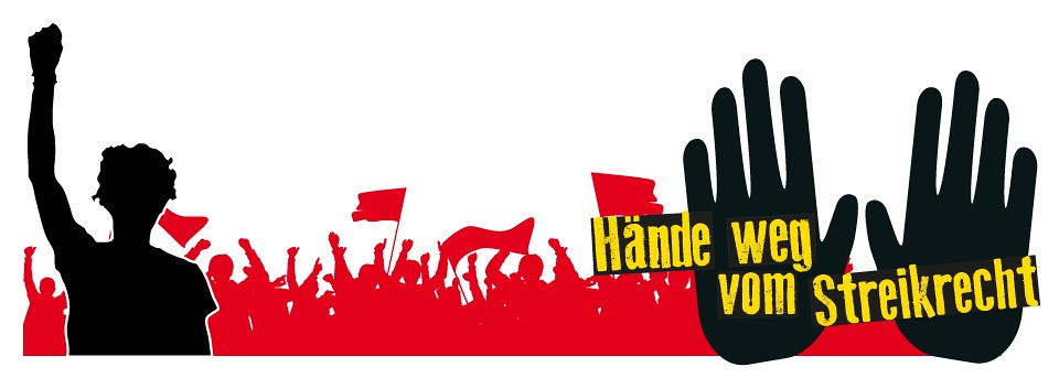 去年德國依《團體協約統一法》新增《團體協約法》第4a條,僅承認廠場中取得多數會員代表之工會所訂立的團體協約有所適用,造成小工會簽署的團體協商形同廢紙;眾小型工會與德國左派黨強烈反對新法,組成捍衛罷工權聯盟,發動連串抗爭並提出憲法訴訟。圖為反對新法文宣。(圖片來源:捍衛罷工權聯盟)