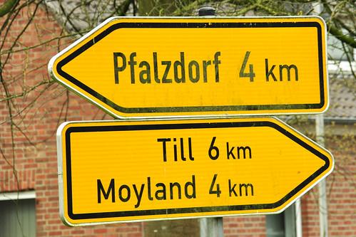 """So ähnlich wie den beiden Ameisen von Ringelnatz mag es den Pfälzern gegangen sein, die eigentlich nach Amerika auswandern wollten. Sie kamen nur bis an den Niederrhein und blieben dort. Mich als Kurpfälzerin hat das Thema """"Pfälzer am Niederrhein"""" natürlich interessiert. Es handelt sich um 3 kleinere Ortschaften in der Nähe von Goch: Louisendorf, Neulouisendorf und Pfalzdorf. Wie es heißt, sollen sie dort ihre Pfälzer Sprache und allerlei pfälzische Traditionen beibehalten haben. Wikipedia schreibt: """"Im Herbst 1741 wies die Stadt Goch kurpfälzischen Auswanderern einen Teil der Gocher Heide als Siedlungsgebiet zu. Die Gruppe reformierter und lutherischer Auswanderer wollte über den Rhein nach Rotterdam, um von dort nach Amerika überzusetzen. Die Niederländer verweigerten ihnen jedoch bei Schenkenschanz die Weiterreise über den Rhein nach Rotterdam. In den folgenden Jahren hatten die Emigranten mit finanziellen Anfangsschwierigkeiten zu kämpfen, die zu wiederholten Landesverweisungen führten. Sie wandten sich daher mit einer Bittschrift an den König Friedrich den Großen, der am 30. April 1743 der Kriegs- und Domänenkammer Kleve und dem Magistrat Goch in einem Spezialbefehl aufgab, die Siedler zu unterstützen. Nach den ersten Erfolgen der Kolonisten auf der Gocher Heide entwickelten die preußischen Behörden Interesse an der weiteren Ansiedlung von Auswanderern, die ihren Dialekt und ihr Brauchtum bis heute bewahrt haben."""" - Leider war Louisendorf und Pfalzdorf bei meinem dortigen Aufenthalt ganz ausgestorben, so dass ich den Dialekt nicht hören, sondern nur ein paar Fotos machen konnte. Louisendorf hat einen hübschen Platz (Louisenplatz) vor der Elisabethkirche; um den Platz herum gruppieren sich die typischen Häuser und Gärten der Gegend. In Pfalzdorf (einem der größten Dörfer Deutschlands) konnte ich mehrere Hinweise auf die Pfalz finden, z. B. in Form von Straßen- und Kneipennamen. Außerdem kann man dort die """"Pfälzer Chronik"""" von Pfalzdorf auf einer Mauer nachlesen."""
