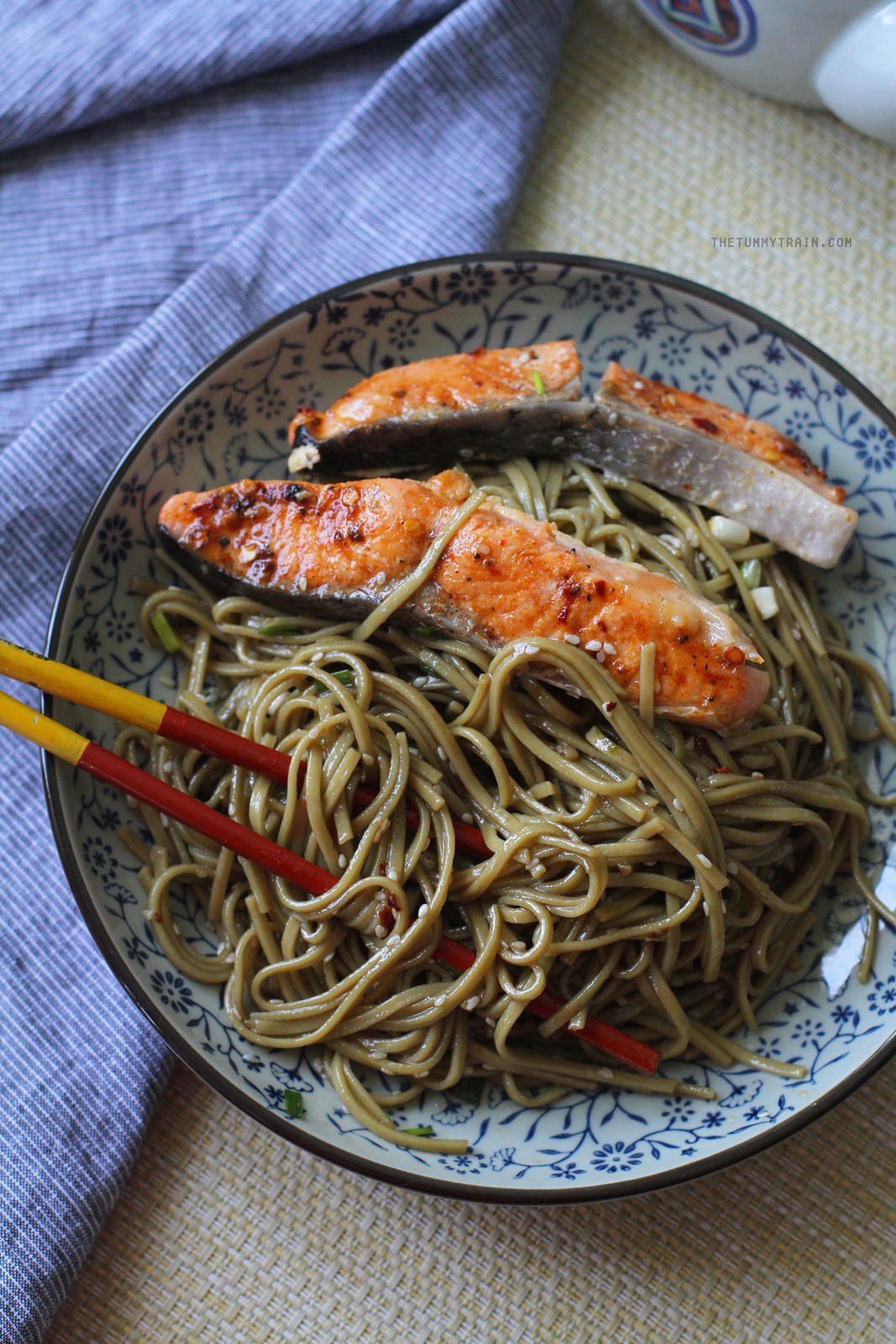 25101196293 084a559f4e h - My favourite Sesame Soba topped with sweet-spicy salmon