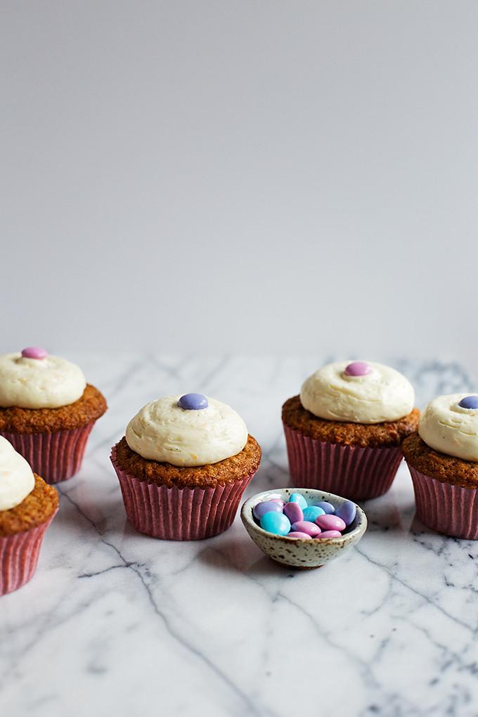 Carrot Cake Cupcakes with Orange & Vanilla Bean Cream Cheese Frosting