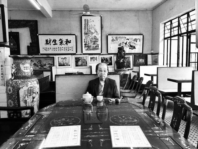 Casa de té de Macao en blanco y negro