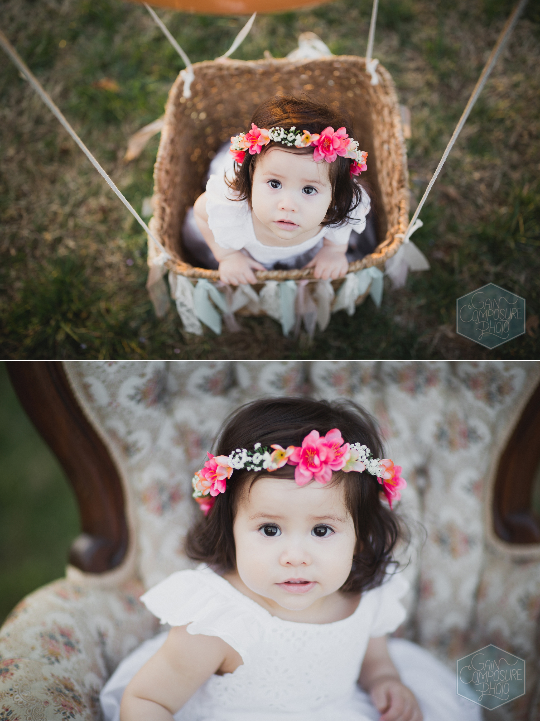vintage inspired 1 year old session in greensboro including hot air balloon