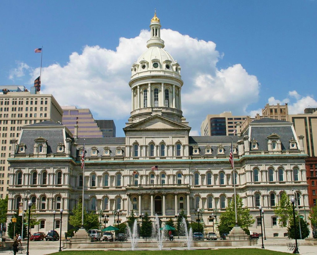 Baltimore City Hall, Baltimore, Maryland. Complete 1875
