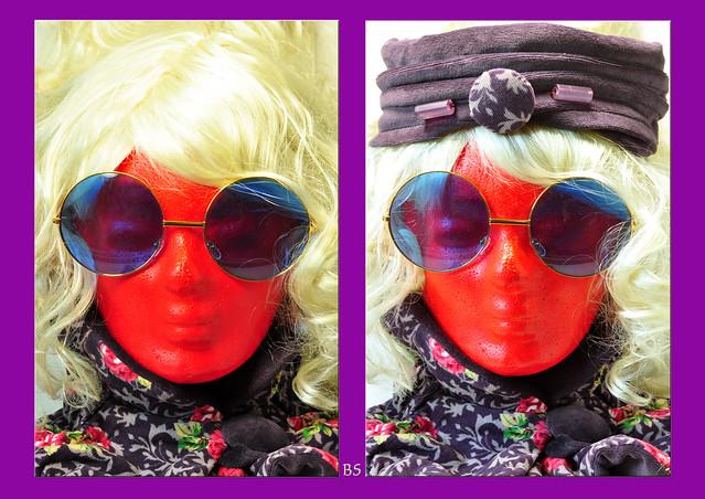 Projekt Perücke Perückenköpfe Styropor basteln Styroporköpfe Nach der Chemotherapie weiß bunt farbenfroh rot lila violett Hippie Perücke Kunst mit Styroporköpfen Foto Brigitte Stolle Mannheim 2016