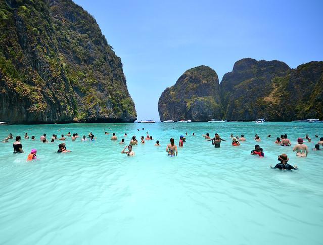 Zona de baño de Maya Bay en Tailandia