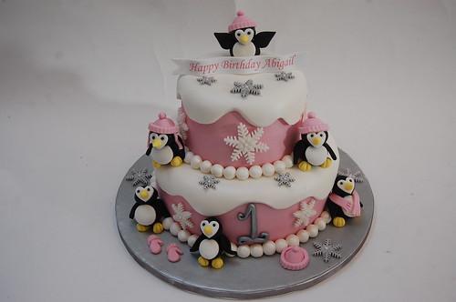 Pleasant Pink Penguin Cake Beautiful Birthday Cakes Funny Birthday Cards Online Aeocydamsfinfo