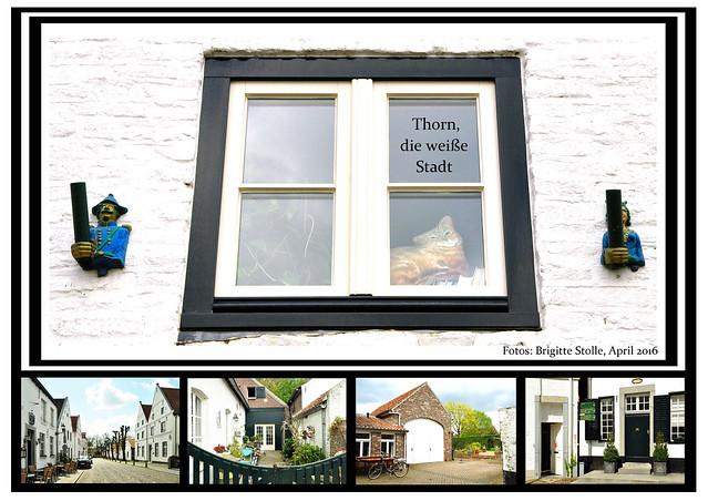 """Thorn, im April 2016. Das weiße Städtchen (""""het witte stadje"""") in der Provinz Limburg heißt auf Niederländisch Thorn, auf Limburgerisch Toear. Alles ist weiß. Bei meinem Aufenthalt dort waren sogar die Wolken weiß und die Blüten der Bäume :-) Naja, genau genommen ist nicht ALLES weiß. Die ehemalige Stifts- und Abteikirche St. Michael ist nicht weiß getüncht und viele andere Gebäude und Mauern haben noch ihre ursprüngliche Farbe erhalten. Aber der Gesamteindruck der kleinen Stadt ist eben doch weiß. Woher das kommt? Damit die unterschiedlichen Größen und Formen der Steine nicht allzu deutlich ins Auge fallen, hätten die Thorner einst ihre Mauern und Häuser weiß übertüncht, um diese Unregelmäßigkeiten zu kaschieren. Diese lustige Idee bringt dem niederländischen Städtchen heute viele Besucher und Touristen ein und das Weiß wird gerne mit allerlei Kunsthandwerk und Dekoration noch zusätzlich hervorgehoben. Die Farbe Weiß. Foto Fotocollage Brigitte Stolle April 2016"""