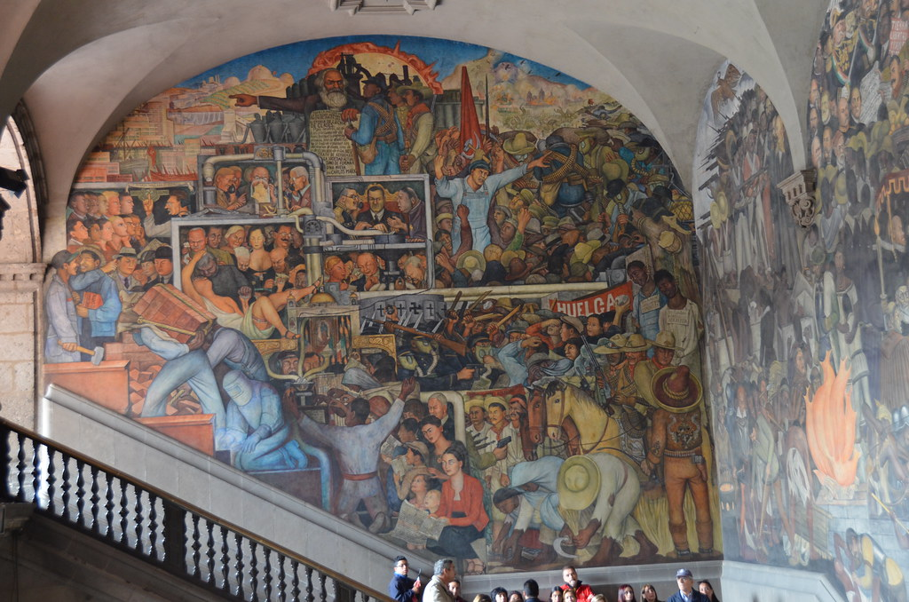 Left panel of diego rivera 39 s history of mexico mural at th for Mural history