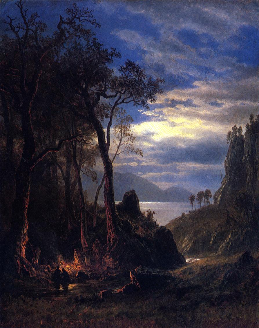 The Campfire by Albert Bierstadt , (1830 - 1902)